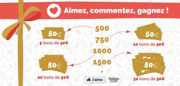 Jeu Facebook ! Jusqu'au 01 décembre 23h59 Tentez de gagner un bon cadeau d'une valeur de 50 € !